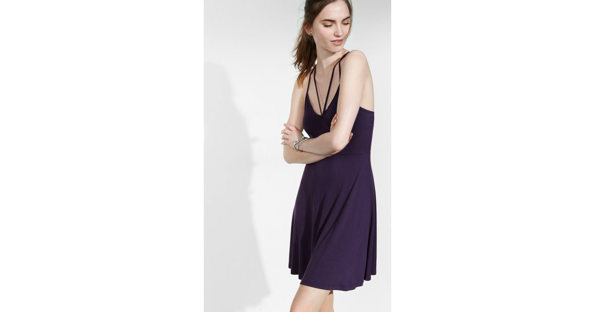 4780f530ce Lyst - Express Cut-out V-neck Soft Skater Dress in Purple