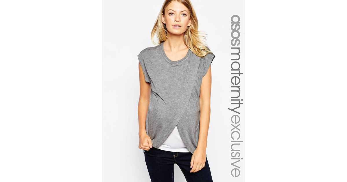b5c5825e60551 Lyst - ASOS Maternity Nursing T-shirt With Wrap Overlay in Gray