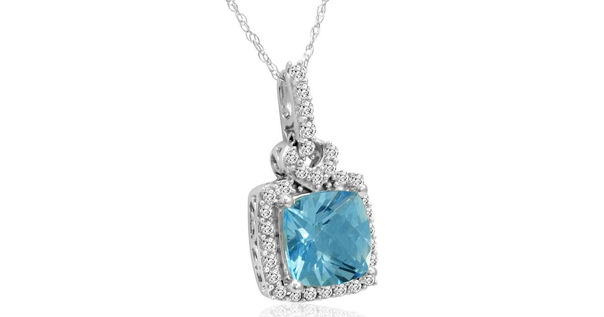 Lyst amanda rose collection 10k white gold pendant necklace with lyst amanda rose collection 10k white gold pendant necklace with swarovski cut blue and white topaz 3ct tgw in metallic aloadofball Gallery