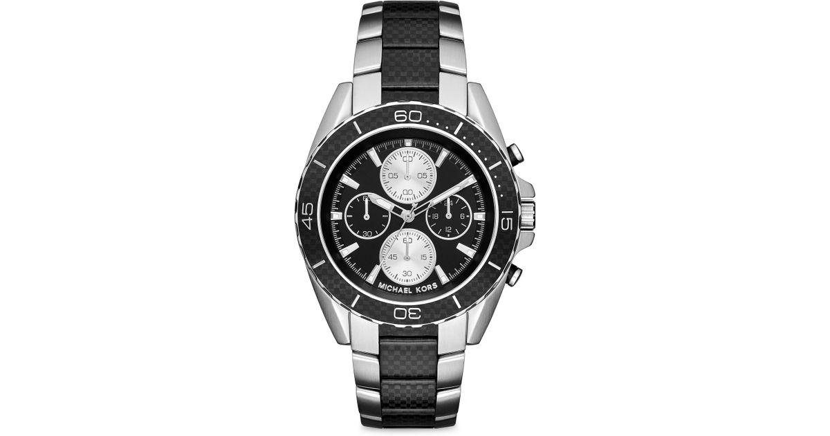 641d78ccfef6 Lyst - Michael Kors Jetmaster Stainless Steel   Black Carbon Fiber  Chronograph Bracelet Watch in Metallic for Men
