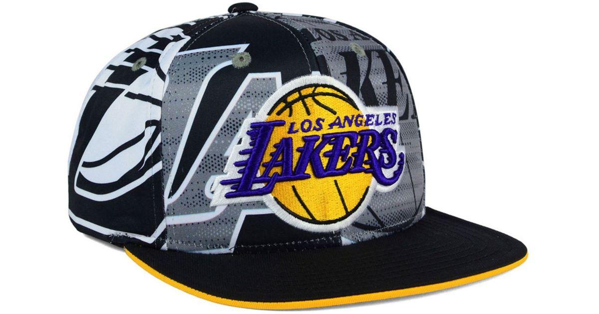 421278e7fa7ff ... shop lyst adidas originals los angeles lakers all team screen print  snapback cap for men bfd00