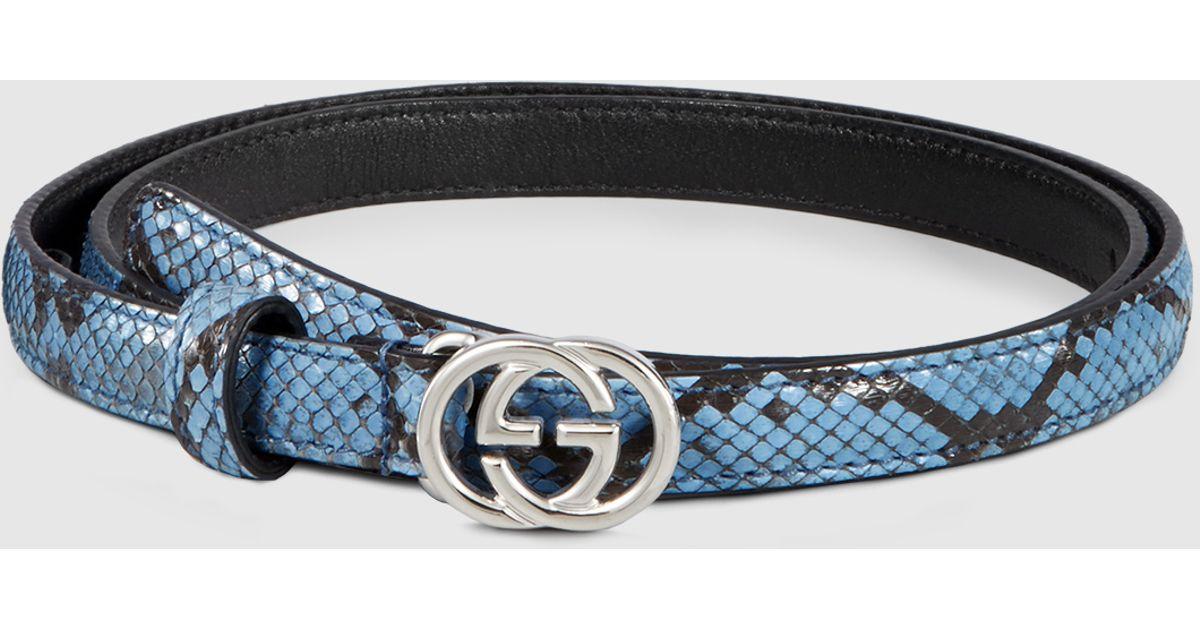 e7f4dcf0b Gucci Python Skinny Belt With Interlocking G Buckle in Blue - Lyst