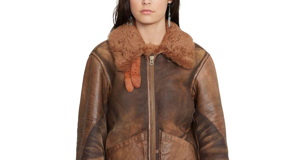 Ralph Shearling Brown Polo Jacket Lauren Bomber Lyst H29IDWE