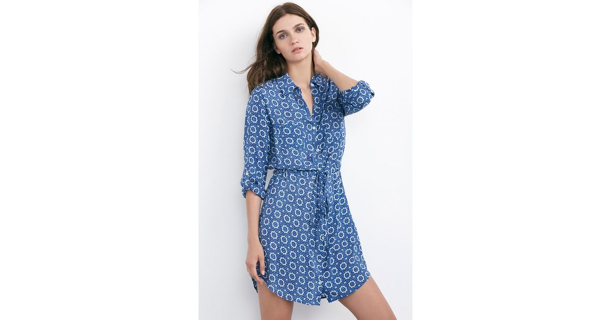 3708ad745cf Lyst - Velvet By Graham   Spencer Jordy Blue Print Challis Shirt Dress in  Blue