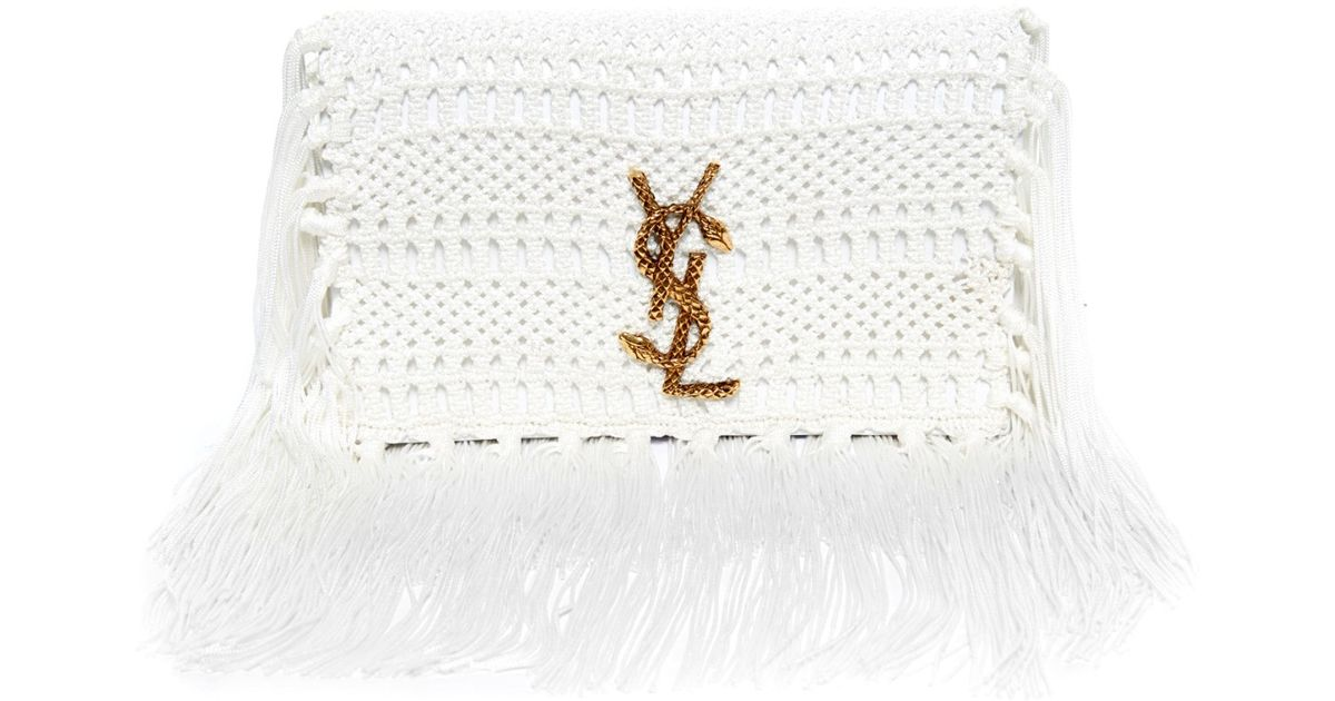Monogram Crochet Fringe Clutch Bag, White