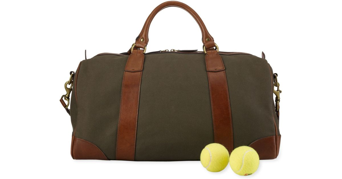 c59d307b2f5c Lyst - Polo Ralph Lauren Canvas   Leather Gym Bag in Green for Men