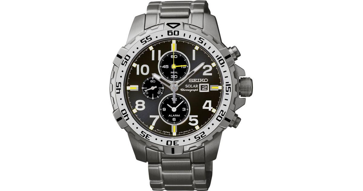 3233b606c32 Lyst - Seiko Men s Solar Alarm Chronograph Stainless Steel Bracelet Watch  45mm Ssc307 in Gray for Men