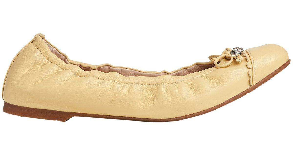 8693dee3184d L.K.Bennett Aerin Bow Ballet Pumps in Yellow - Lyst