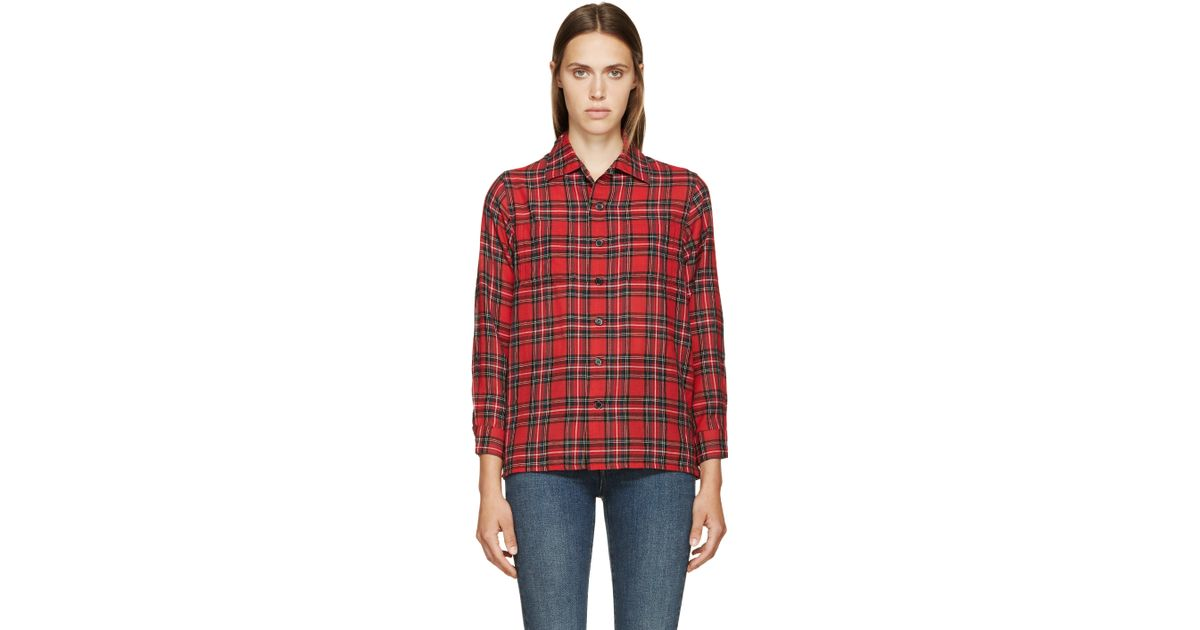 Saint laurent red plaid wool shirt in red lyst for Saint laurent check shirt
