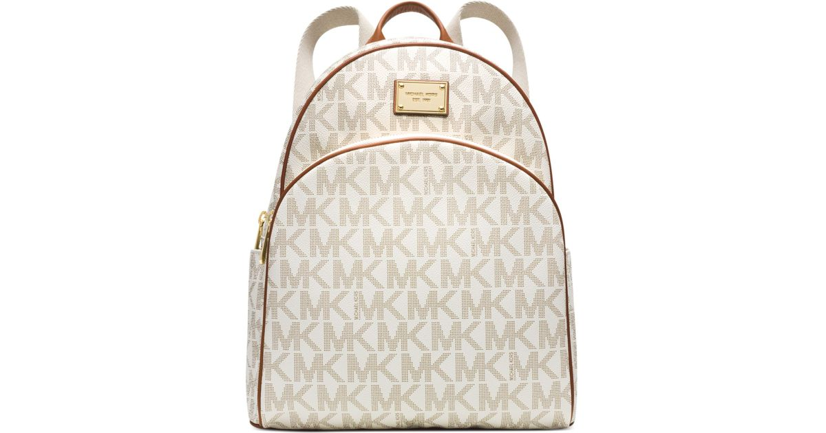 lyst michael kors michael signature large backpack in white rh lyst com