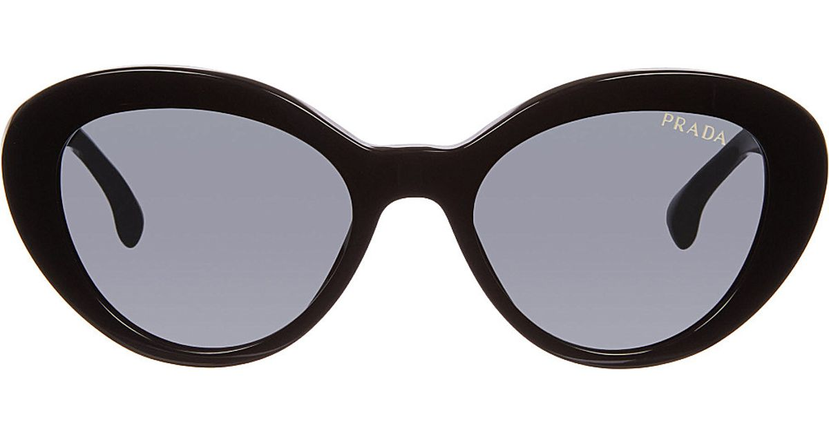 040bc320c2 spain lyst prada heritage cat eye sunglasses in black 4cd86 2a61f  where to  buy prada 15qs portrait oval sunglasses black in black lyst 6473a 3ec91