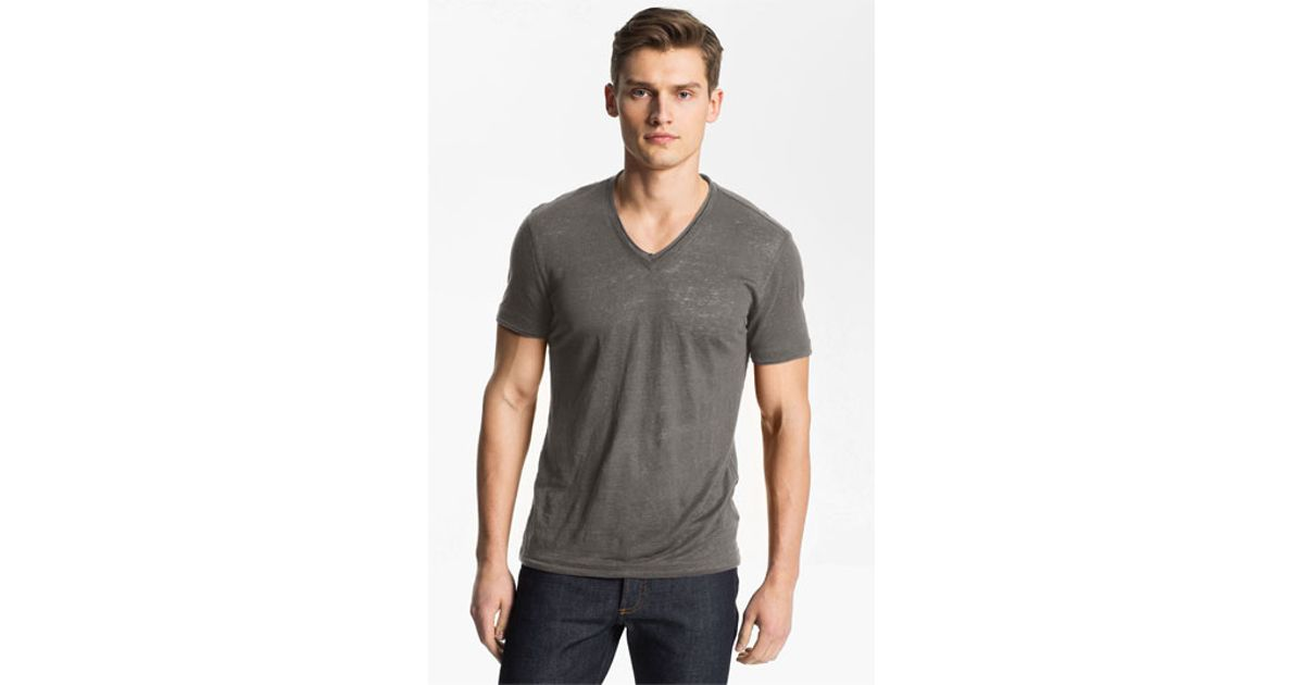 John Varvatos V Neck Linen T Shirt In Gray For Men Lyst
