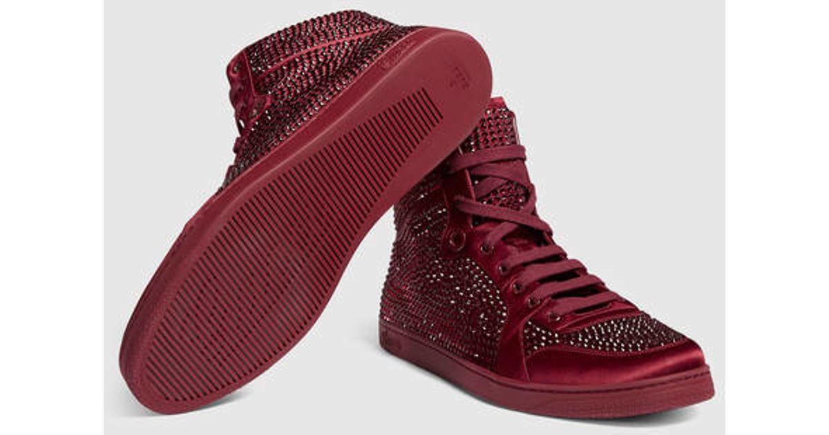 9895900691d Lyst - Gucci High-top Sneaker With Crystal Studs in Purple for Men