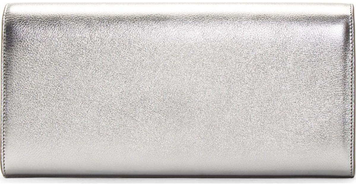 Monogram Metallic Tassel Clutch Bag Silver Ysl Roady Handbag