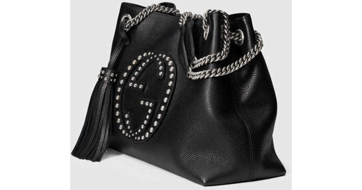 f49a0c9221435d Gucci Soho Studded Leather Shoulder Bag in Black - Lyst