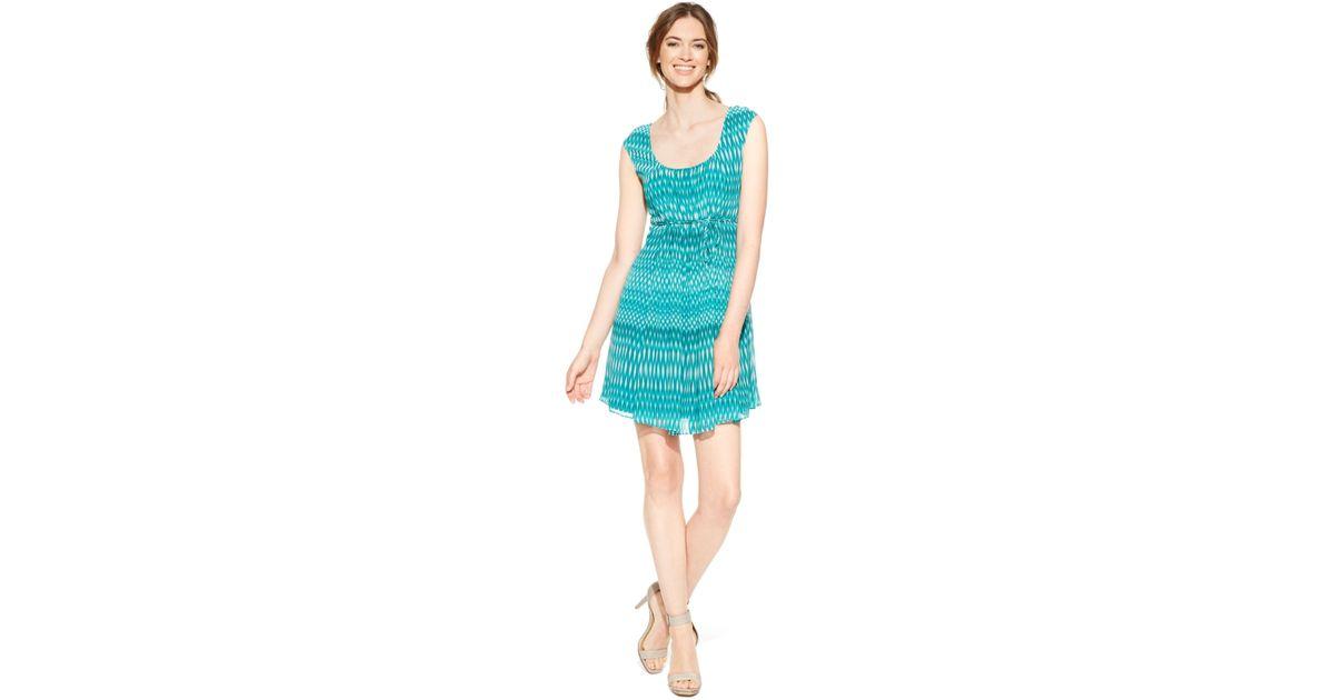 Lyst - Calvin Klein Petite Printed Chiffon A-line Dress in Green 41d5b1dfd