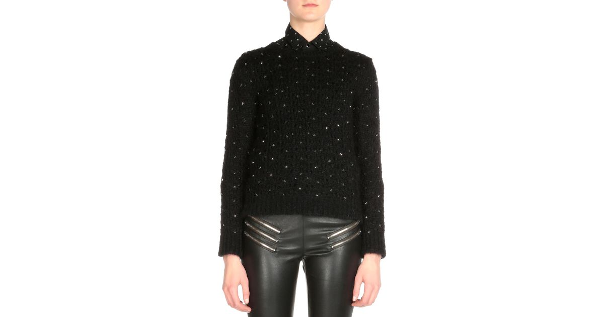 30d634841e3 Lyst - Saint Laurent Crystal Embellished Sweater in Black