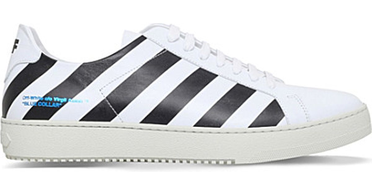 e6ac786861ab Lyst - Off-White c o Virgil Abloh Striped Low-top Leather Trainers in Black  for Men