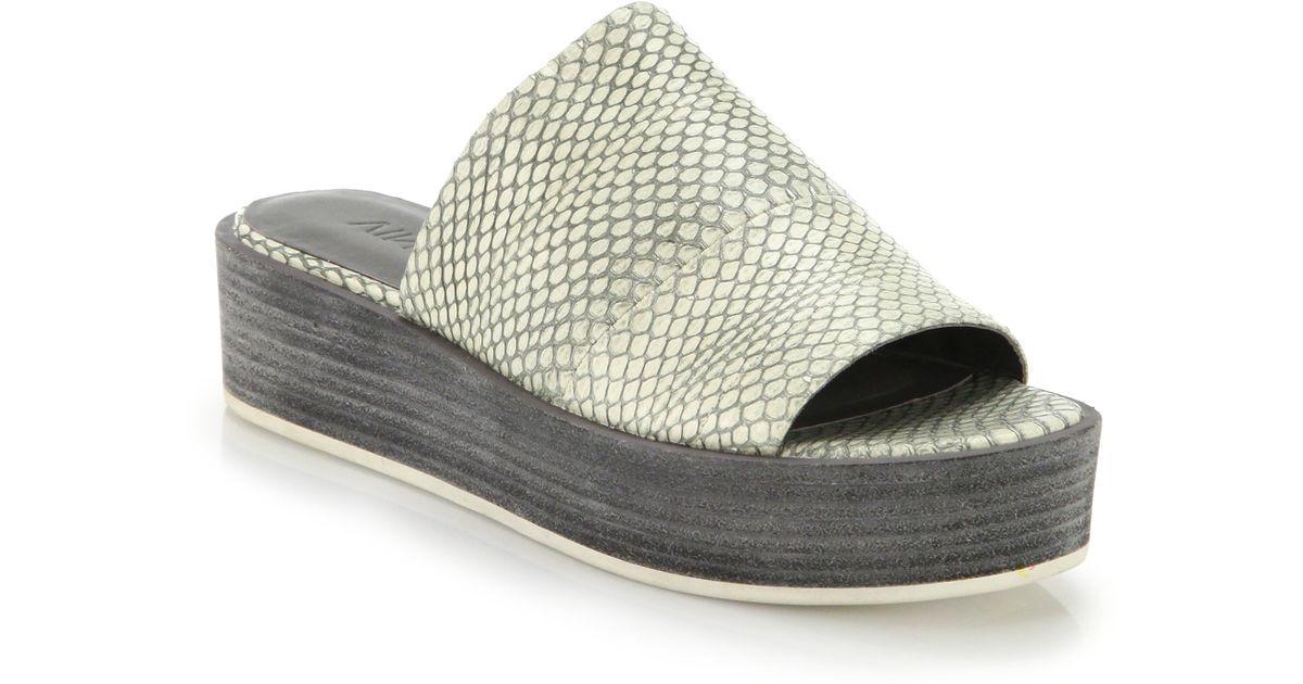 0414f88d8c1 Lyst - Vince Saskia Snake-embossed Leather Platform Slide Sandals in Gray