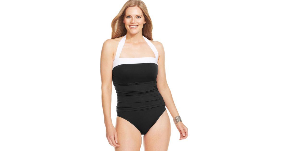 9aa08cb41d5 Lauren by Ralph Lauren Plus Size Ruched Tummy Control Halter Onepiece  Swimsuit in Black - Lyst