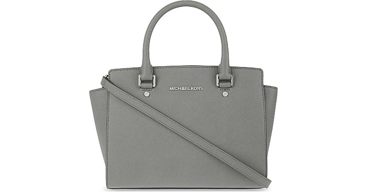3791749fada3 Michael Michael Kors Selma Medium Leather Satchel in Gray - Lyst