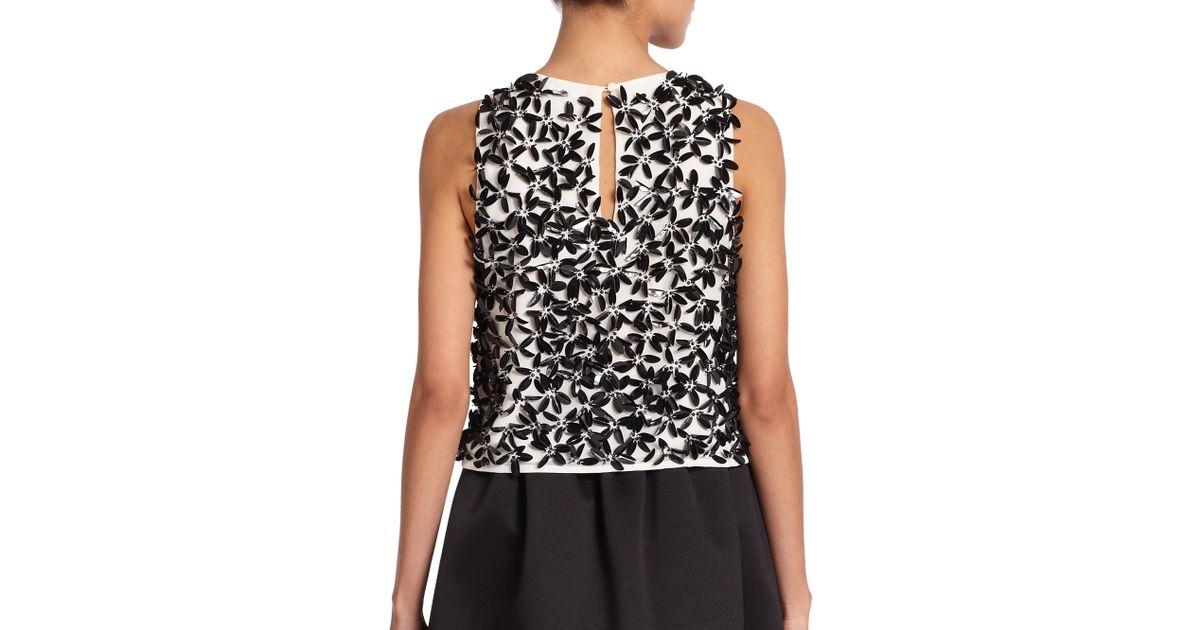 39737d2810eb2 Lyst - Parker Black Karmina Embellished Crop Top in White