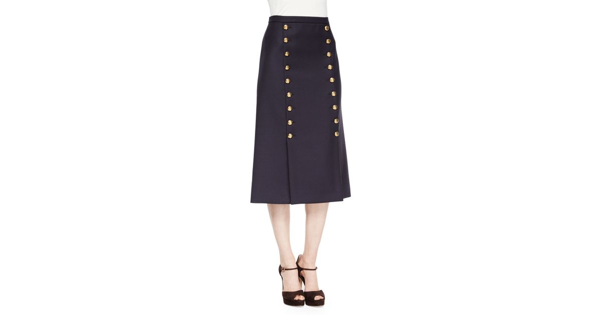 Michael kors High-waist Button-front Midi Skirt in Blue | Lyst