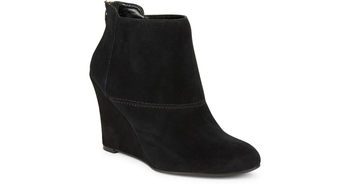 nine west optimistic suede wedge ankle boots in black lyst