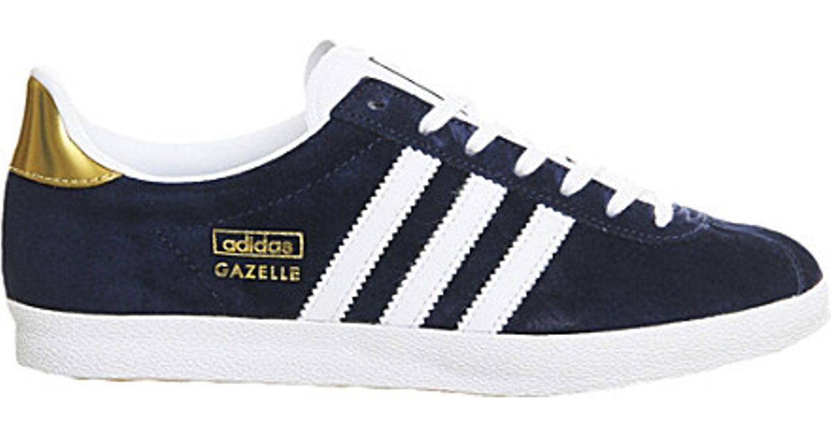 brand new 6b0d1 10fa0 adidas Gazelle Og Trainers, Women s, Size  6, Indigo White Gold in Blue -  Lyst