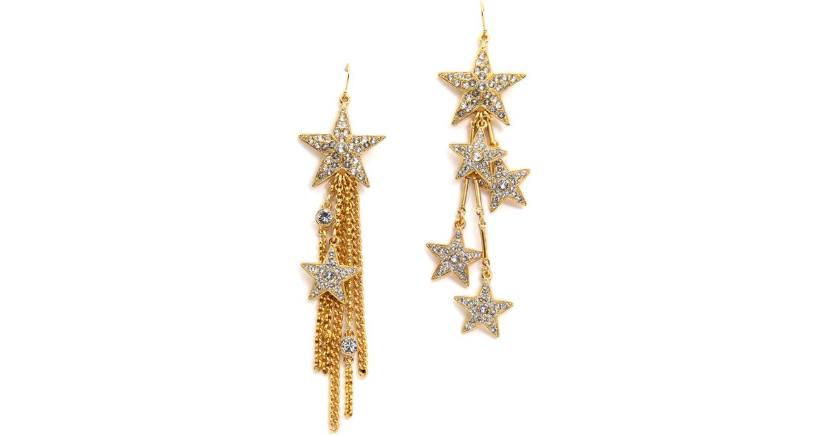 Lyst - Ben-Amun Star Asymmetrical Earrings - Clear/Gold in Metallic