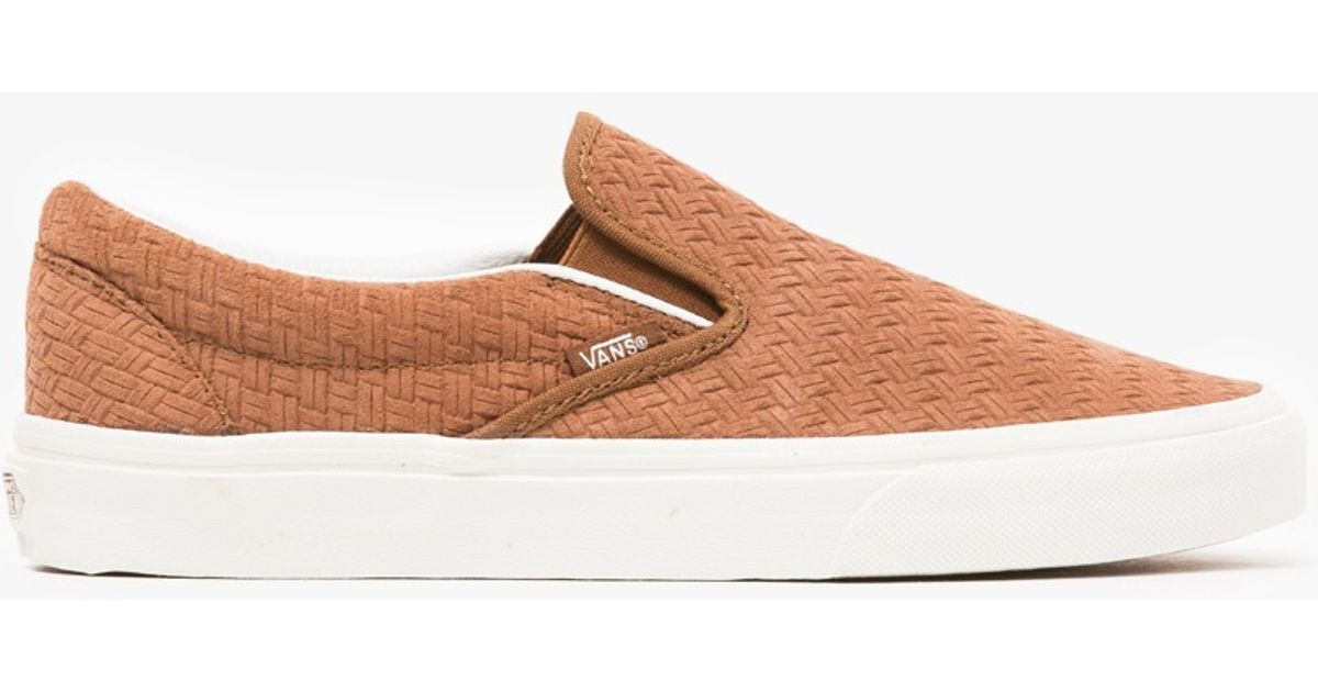 912ab10d3bf Lyst - Vans Classic Slip-on Braided Suede in Brown