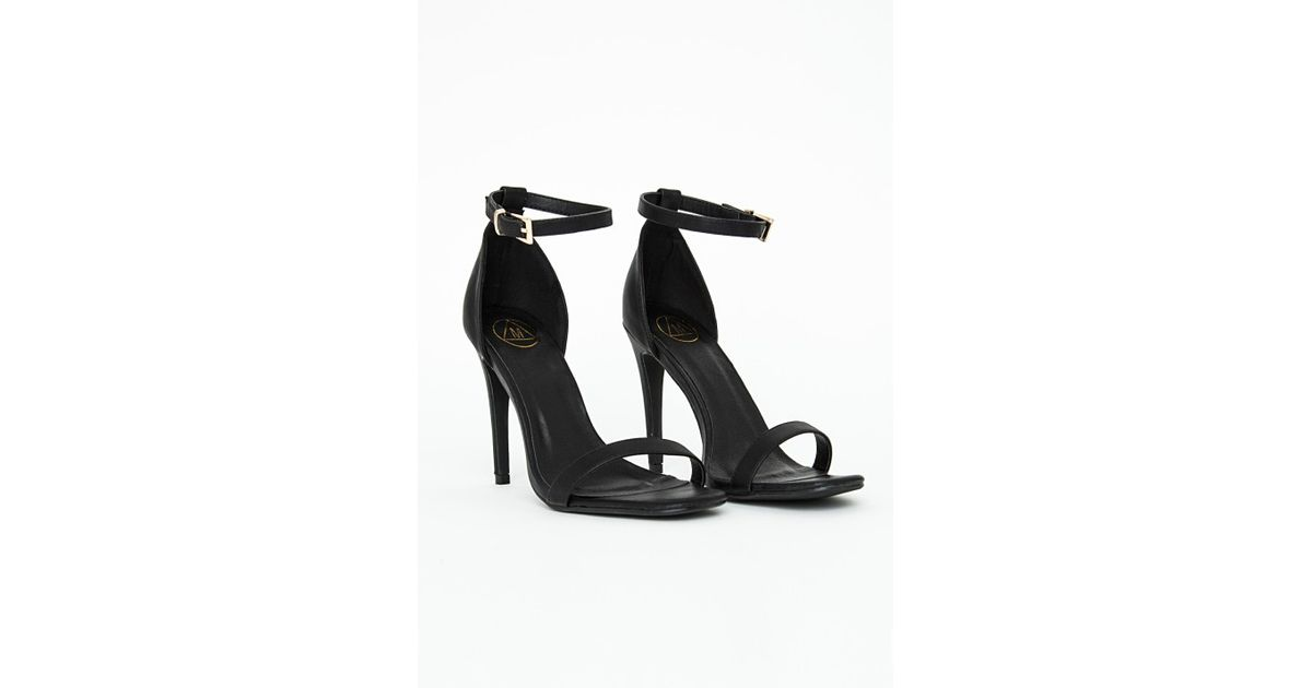 5eae6e708999 Lyst - Missguided Clara Black Strappy Heeled Sandals in Black