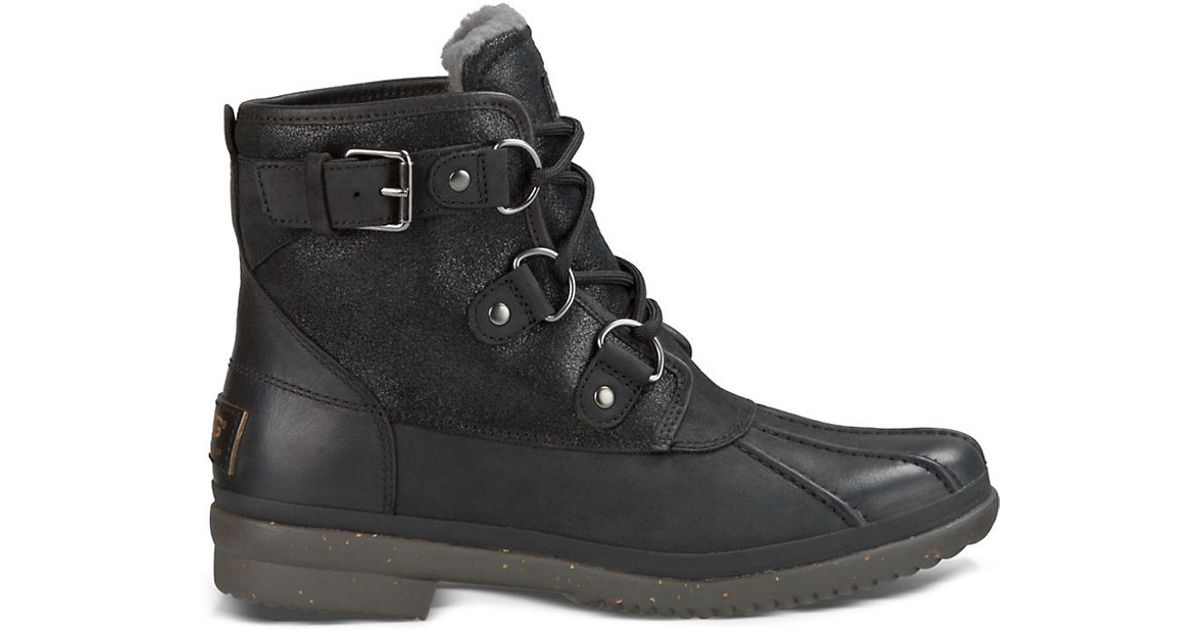 ugg cecile uggpure leather duck boots in black lyst