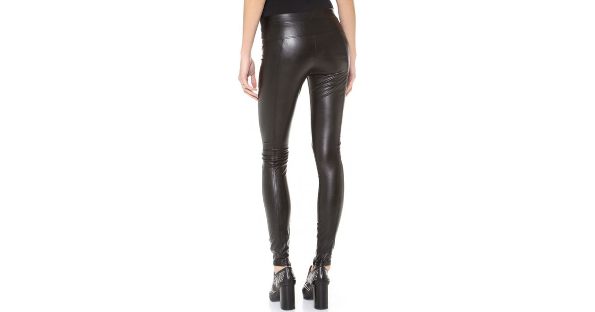 ab7334ed5495c1 David Lerner Faux Leather Leggings - Black in Black - Lyst