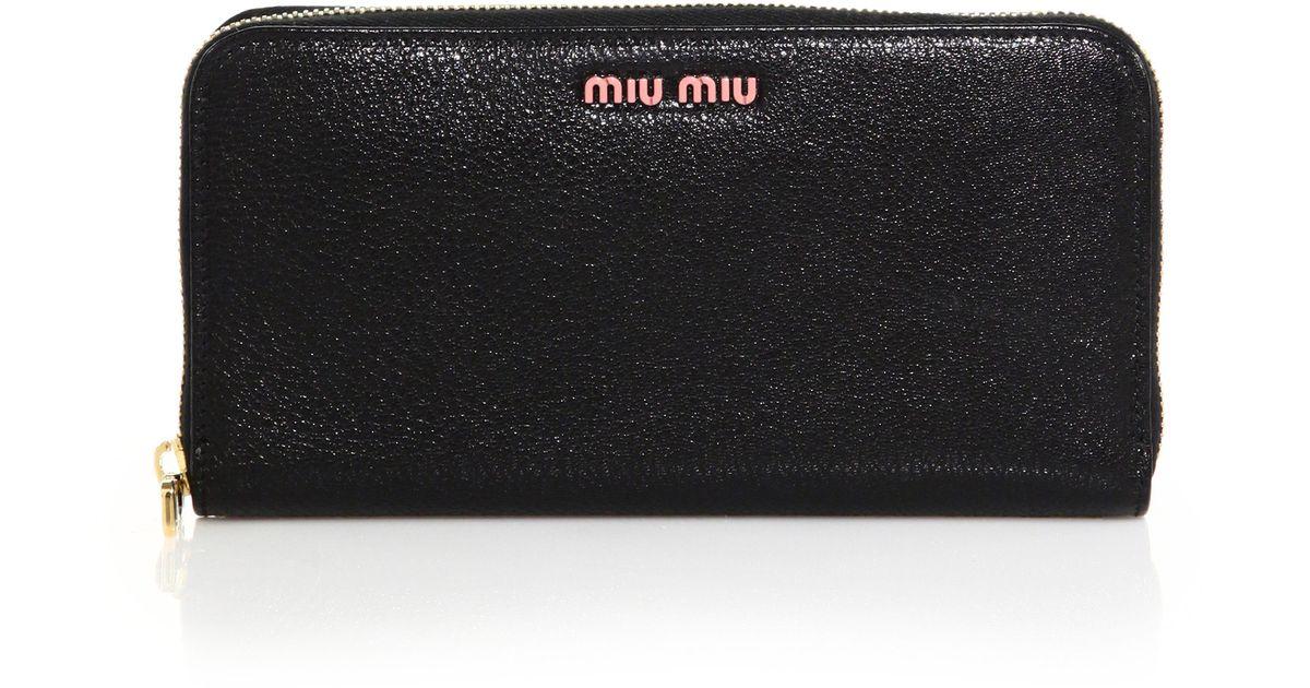 5bded8caa881 Lyst - Miu Miu Madras Zip-around Continental Leather Wallet in Black