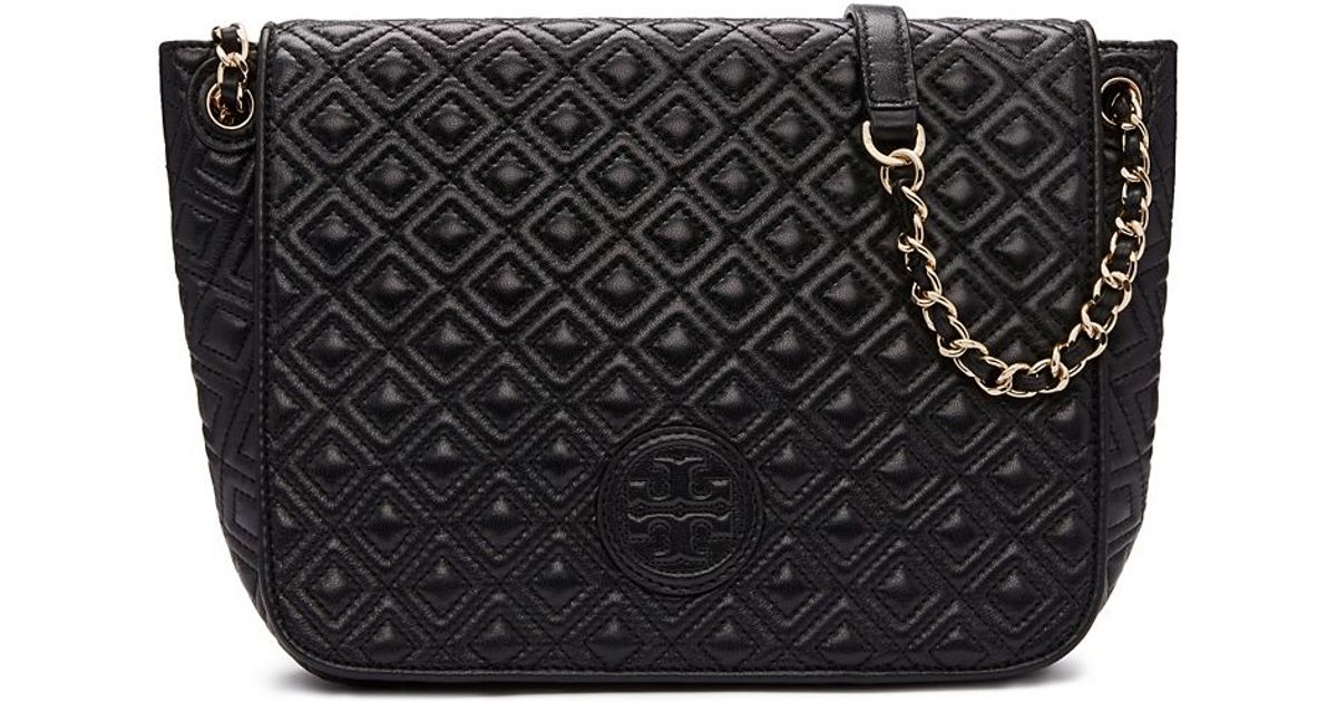233af717d1da Tory Burch Marion Quilted Small Flap Shoulder Bag in Black - Lyst