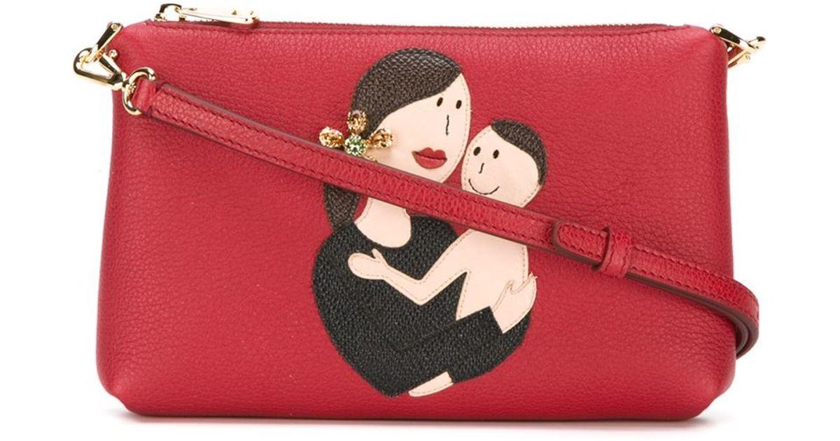 45f042bffaaf Lyst - Dolce   Gabbana Family Patch Crossbody Bag in Red