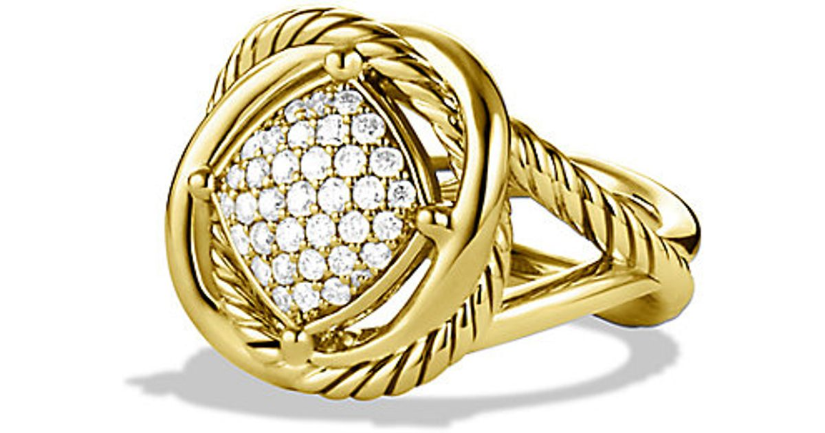 David Yurman Infinity Ring With Diamonds In Gold In Gold