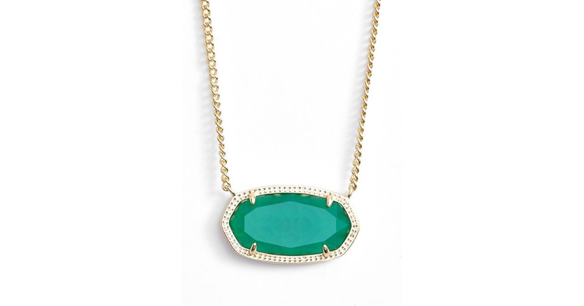 Lyst kendra scott dylan stone pendant necklace in green aloadofball Choice Image