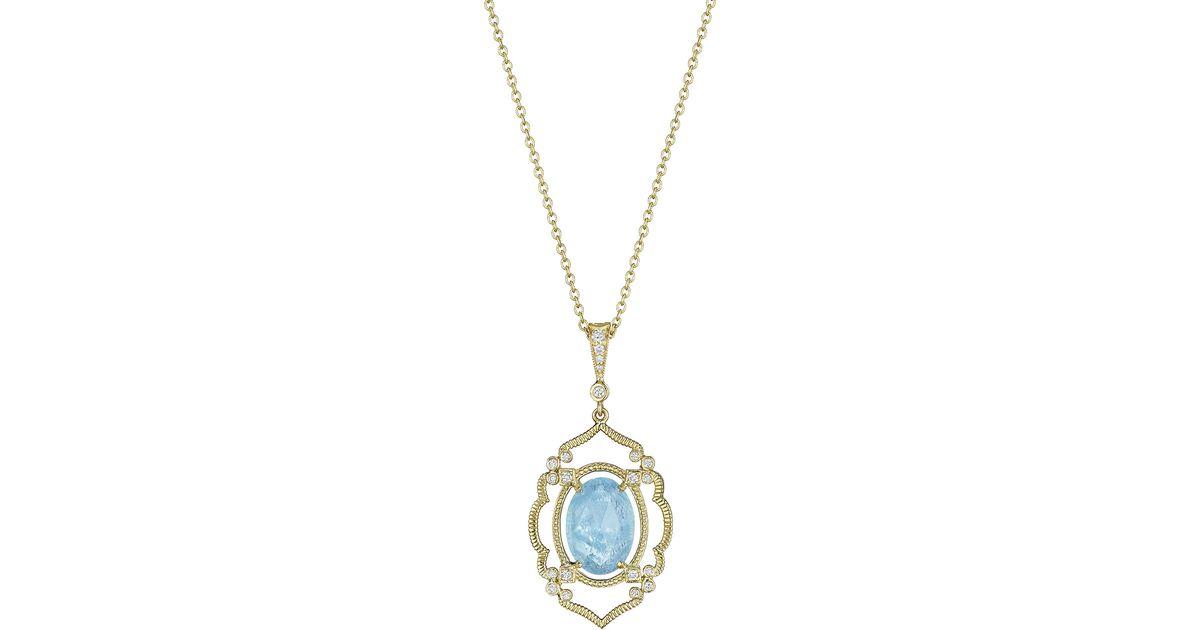 Penny Preville Arabesque Aquamarine & Diamond Pendant Necklace YhMmaKr