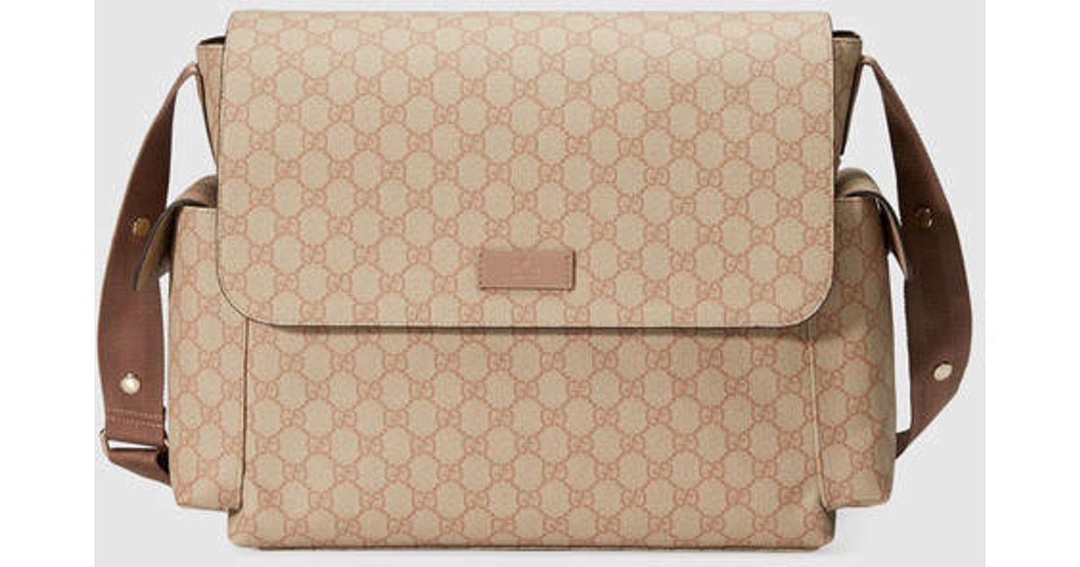 cef8439a9e06a5 Gucci Gg Supreme Diaper Bag in Pink - Lyst