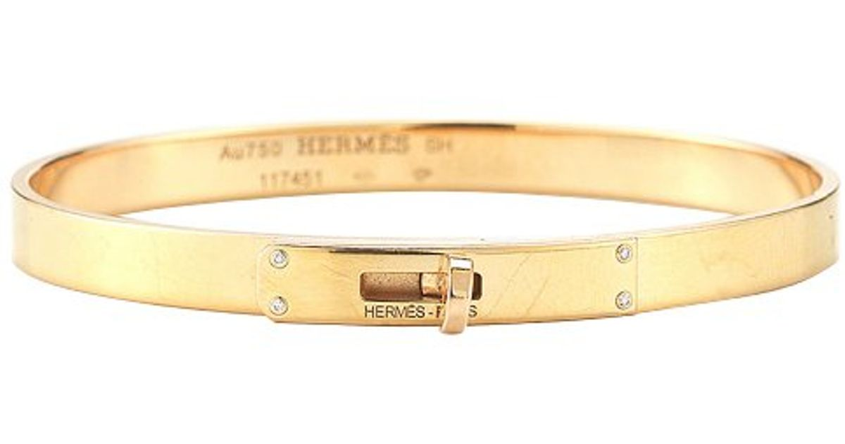 51f91cbf5ce6d discount code for lyst hermès pre owned 18k yelow gold diamond kelly bangle  in metallic 9fff0