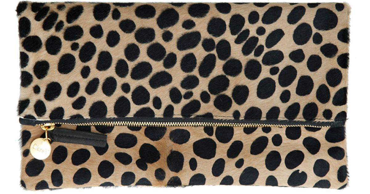 25d11efba9 Clare V. Leopard-print Fur Clutch Bag - Lyst