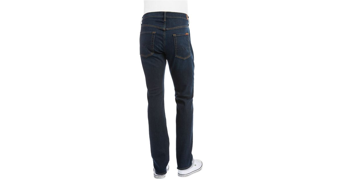 7 for all mankind tapered straight leg jeans in blue for men lyst. Black Bedroom Furniture Sets. Home Design Ideas