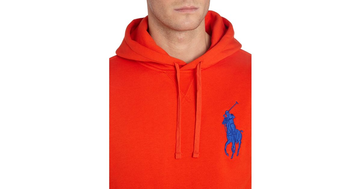 Polo ralph lauren Big Pony Player Fleece Hooded Sweatshirt in Red for Men | Lyst