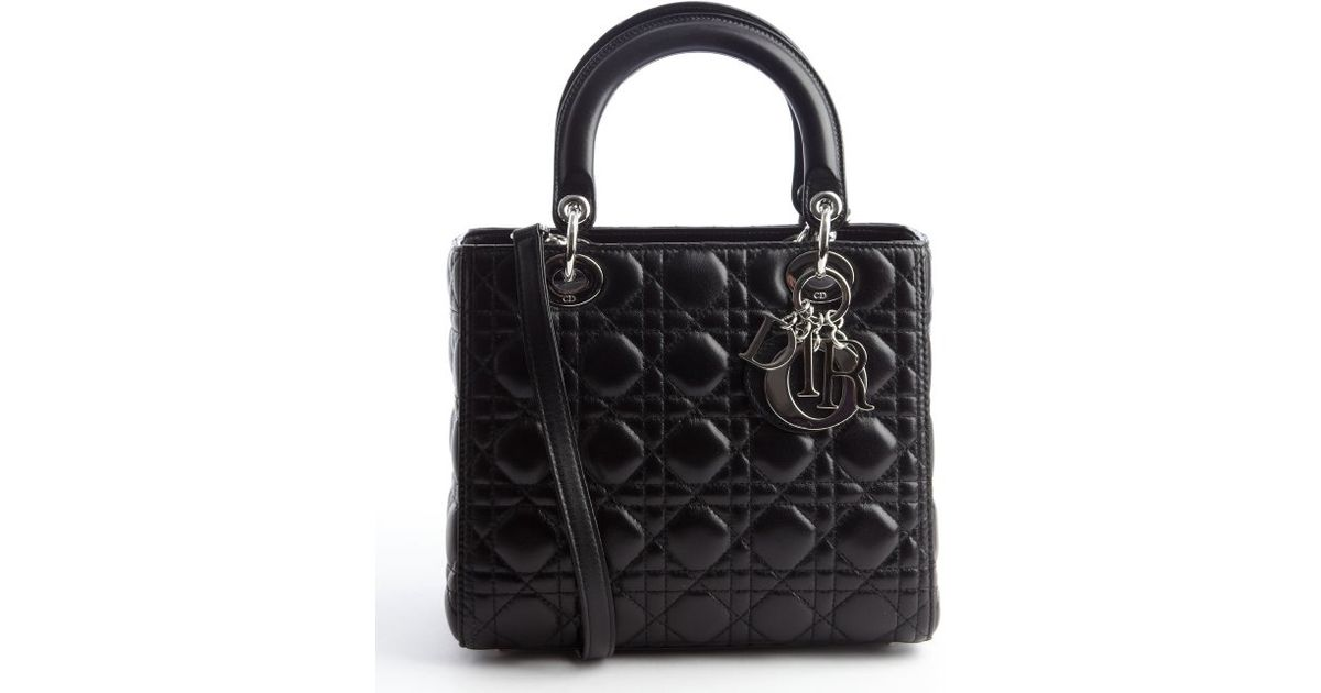 Lyst Dior Black Quilted Lambskin Lady Medium Convertible Tote Bag In