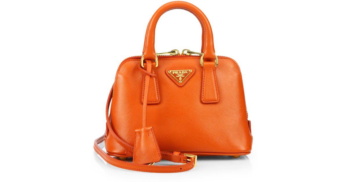93c91a8bd577 Lyst - Prada Saffiano Lux Double Handle Mini Satchel in Orange