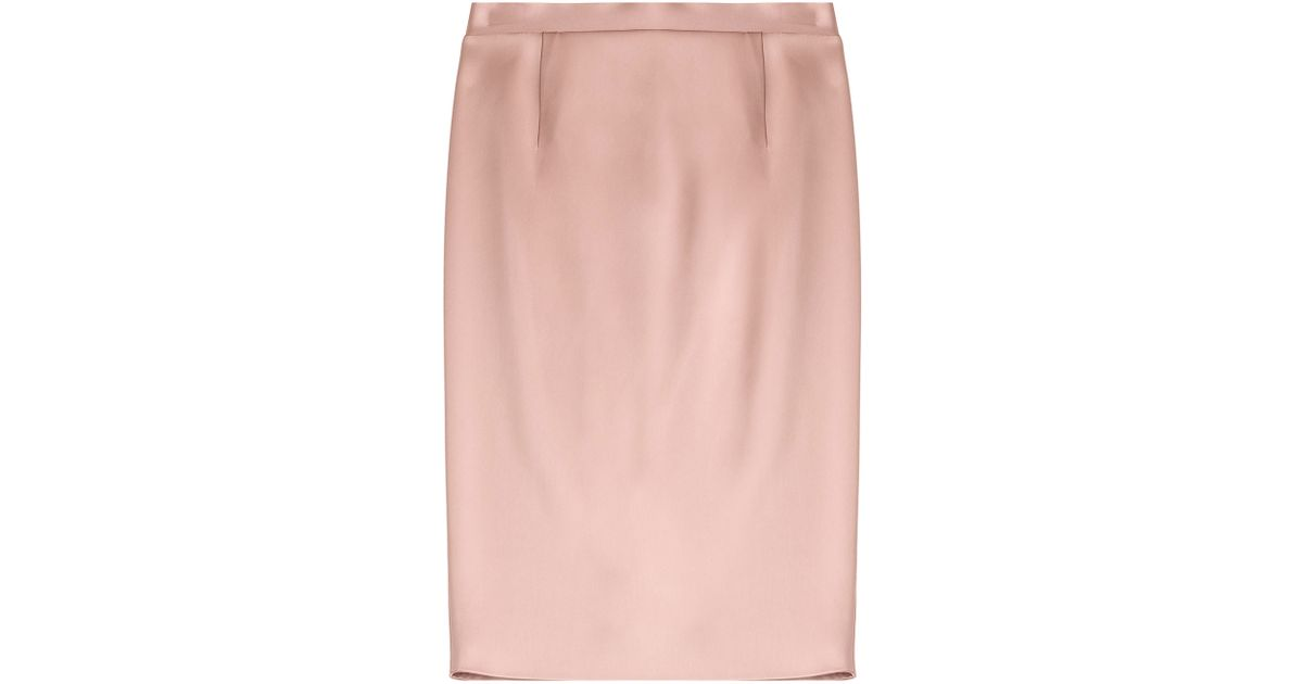jil sander satin pencil skirt in pink lyst