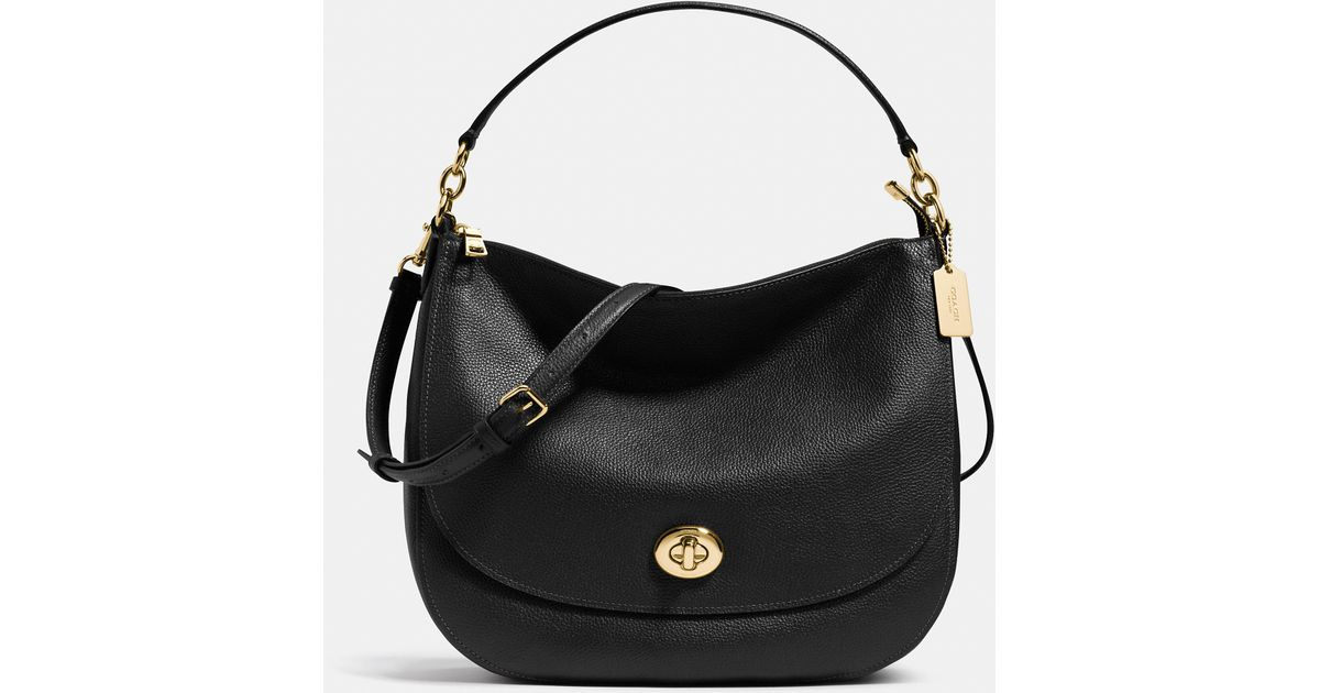 34ac7367bd shop coach 11648 carly signature shoulder hobo bag e3dda 64a57; wholesale  coach turnlock hobo in pebble leather in black lyst 31772 e740a