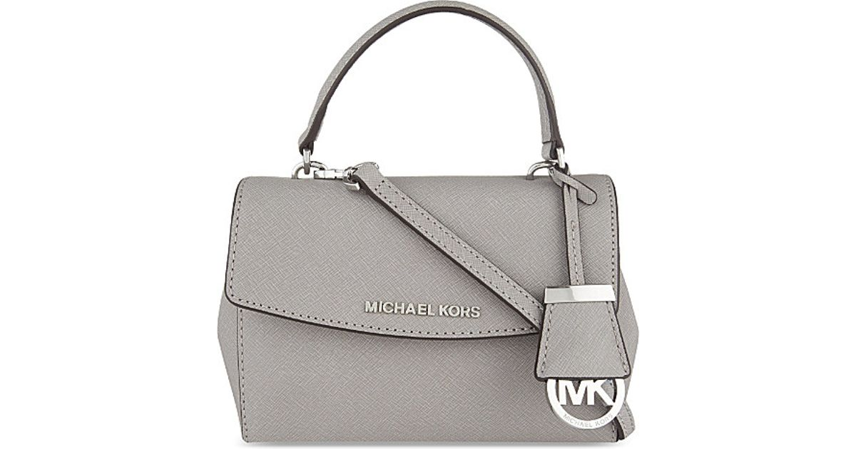 10212061c9cf MICHAEL Michael Kors Ava Extra-small Saffiano Leather Cross-body Bag in Gray  - Lyst